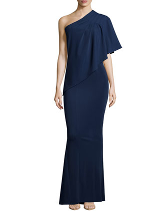 Eloise One-Shoulder Draped Gown, Navy
