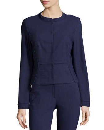 Tori Long-Sleeve Jacket, Navy