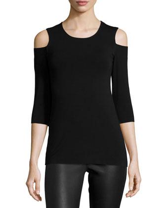 Deneuve Cold-Shoulder Top, Black
