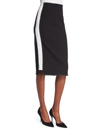 Pippa Two-Tone Pencil Skirt, Black