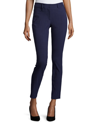 High-Waist Skinny Pants, Navy