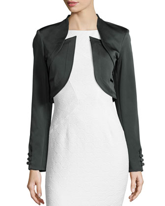 Antonella Fitted Cropped Jacket, Concrete