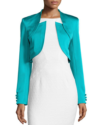Antonella Fitted Cropped Jacket, Ace Blue