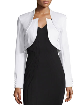 Antonella Fitted Cropped Jacket, White