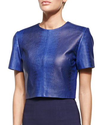 Alex Crocodile-Embossed Leather Blouse, Match Point/Navy