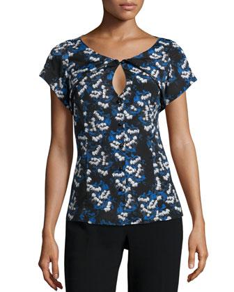 Chiara Floral-Print Blouse, Baseline Blue/Black