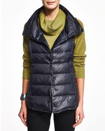 Nylon Snap-Front Puffer Vest