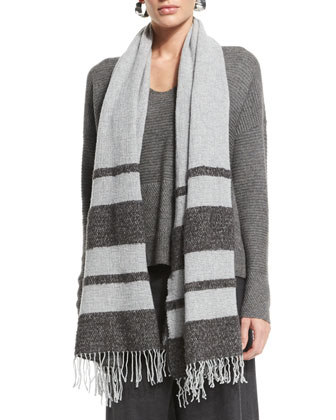 Striped Wool Boucle Scarf