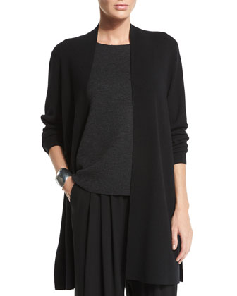 Merino Wool Long Washable Cardigan, Petite