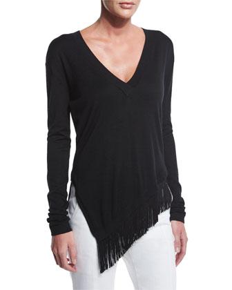 V-Neck Fringe-Trim Sweater, Black