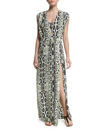 Printed Long Coverup Dress