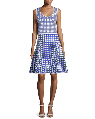 Taryn Sleeveless Circle-Print Dress, White/Match Point