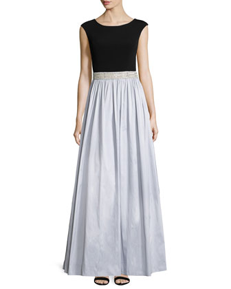 Cap-Sleeve Embellished-Waist Ball Gown, Black/Silver