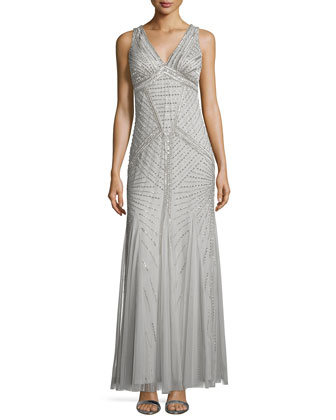 Art-Deco Beaded Tank Gown, Silver