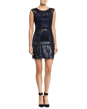 Art Deco Beaded Cocktail Dress, Navy/Black
