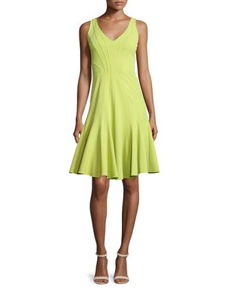 Addisyn V-Neck Fit-&-Flare Dress, Moss