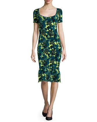 Wren Floral-Print Sheath Dress, Bayou/Moss/Multi
