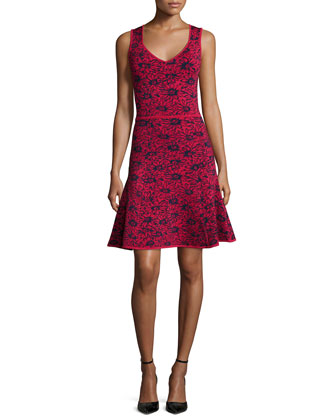 Wendy Daisy-Print Fit-&-Flare Dress, Nightshade/Cardinal
