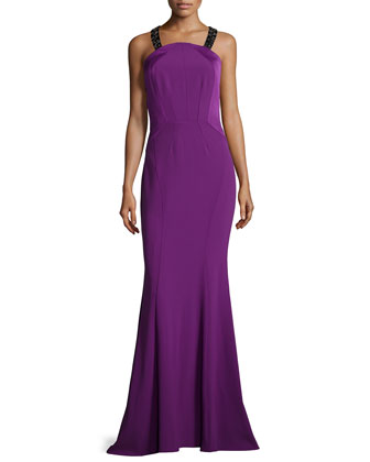 Constance Two-Tone Mermaid Gown, Fuchsia