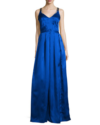 Easton Sleeveless Pleated Ball Gown, Bright Blue