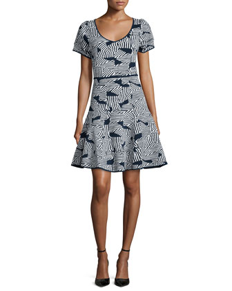 Ziba Geometric-Print Party Dress, Ink/Ivory