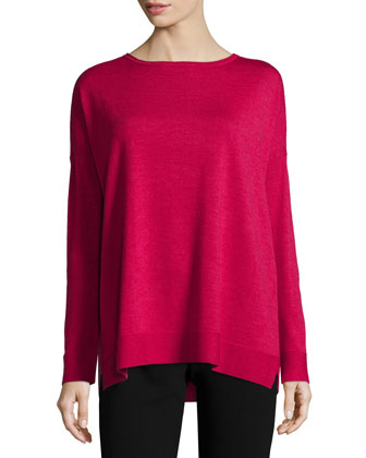 Long-Sleeve Merino Jersey Box Top, Women's