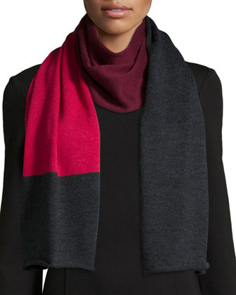 Merino Colorblock Scarf, Red Rose/Charcoal