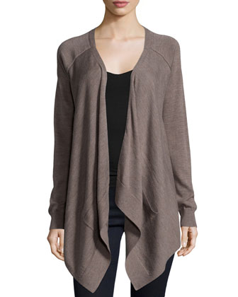Long-Sleeve Drape-Front Cardigan, Chestnut Multi