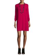 Long-Sleeve Button-Back Jersey Mini Dress