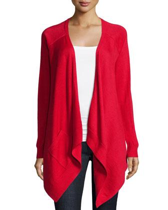 Long-Sleeve Drape-Front Cardigan, Scarlet