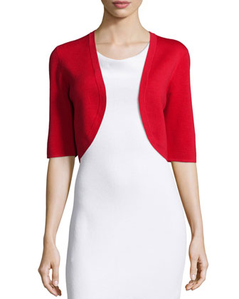 Half-Sleeve Wool Shrug, Scarlet