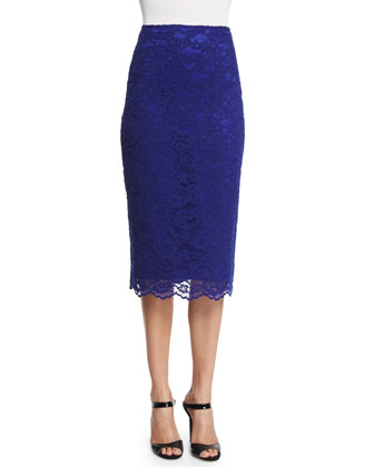 Lace Pencil Skirt, Royal