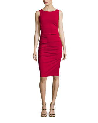 Lauren Sleeveless Ruched Sheath Dress