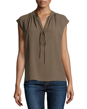 Sleeveless Split-Neck Peasant Top, Java