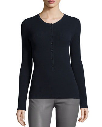 Long-Sleeve Button-Front Henley Top, Navy