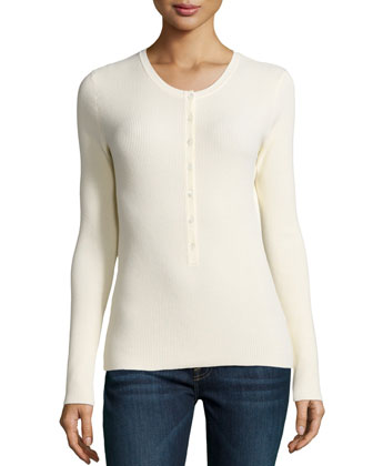 Long-Sleeve Button-Front Henley Top, Vanilla
