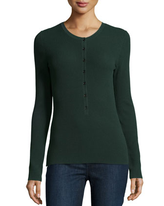 Long-Sleeve Button-Front Henley Top, Forest