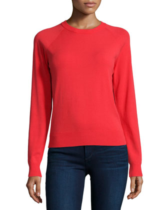 Long-Sleeve Jewel-Neck Top, Scarlet