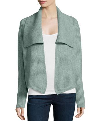 Cashmere Shawl-Collar Cardigan, Celadon/Multi