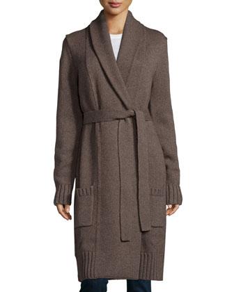 Long-Sleeve Belted Long Cardigan, Chestnut Melange
