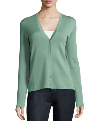 Super-Cashmere Button-Front Cardigan, Celadon