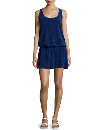 Crisscross-Back Sleeveless Dress, Navy