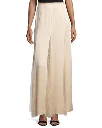 Lace-Inset Godet Maxi Skirt, Nude