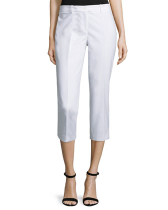 Samantha Slim-Leg Cropped Pants, Optic White
