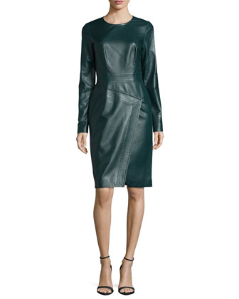Long-Sleeve Jewel-Neck Sheath Dress, Midnight Forest