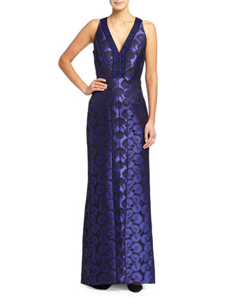 Sleeveless Jacquard Gown W/ Lace Inserts