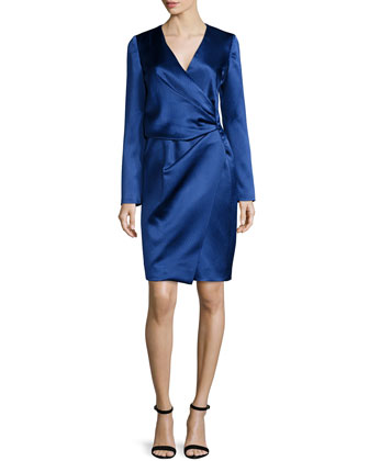 Silk Long-Sleeve Deep-V Wrap Dress, Marine Blue