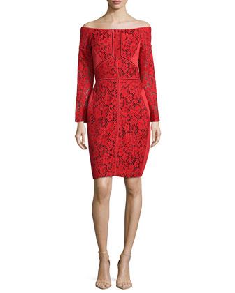 Off-The-Shoulder Lace Sheath Dress, Rouge