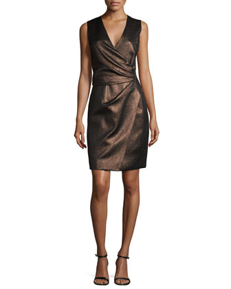 Sleeveless Metallic Faux-Wrap Dress, Bronze