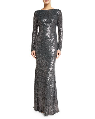 Long-Sleeve Cowl-Back Sequined Mermaid Gown